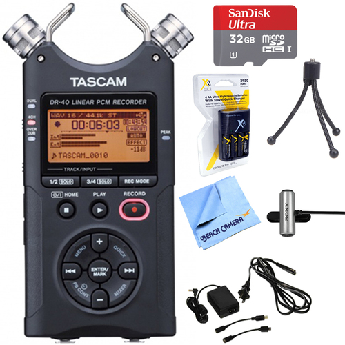 Tascam DR-40 - Portable Digital Recorder with 32GB + Microphone Bundle