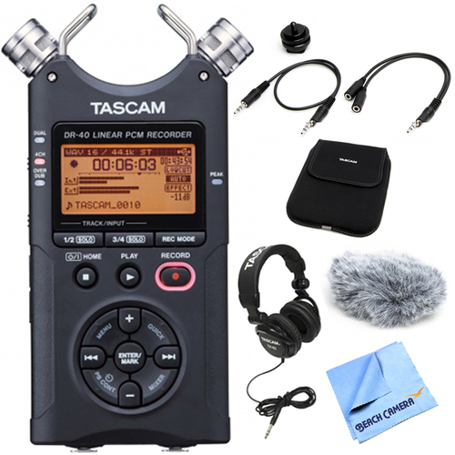 Tascam DR-40 Portable Digital Recorder with Accessory Bundle