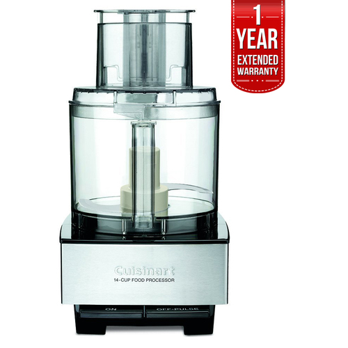 Cuisinart 14-Cup Food Processor Brushed Stainless Steel+1 Year Extended Warranty
