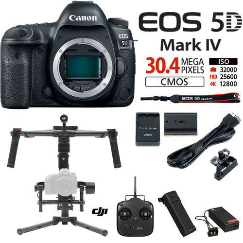 Canon EOS 5D Mark IV 30.4MP DSLR Camera-Body w/ DJI Brushless Gimbal Stabilizer
