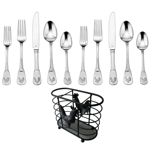 Cuisinart 20 Pcs Flatware Set French Rooster Service for Eight w/ Cutlery Holder