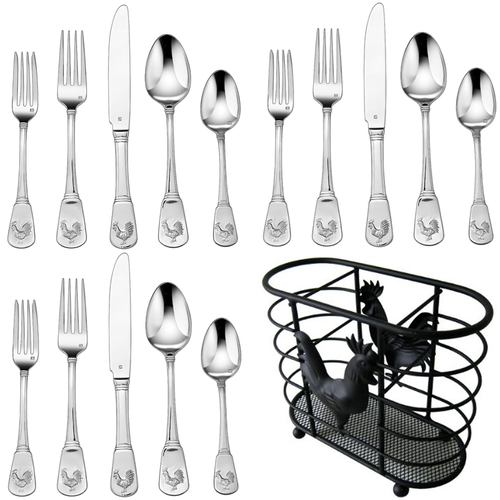 Cuisinart 20 Pcs Flatware Set French Rooster Service for Twelve w/Cutlery Holder
