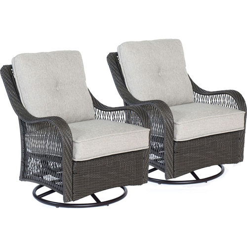 Hanover Orleans 2pc Seating Set:2 Woven/Cushioned Swivel Gliders