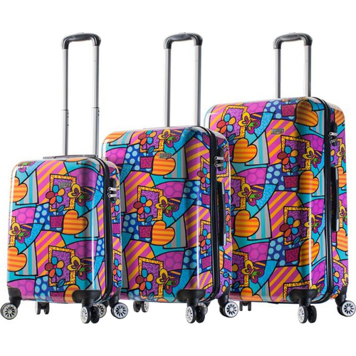 Mia Viaggi Italy Hardside Luggage 3 Piece (20`/24`/28`) Spinner Set - Butterfly/Love/Flower