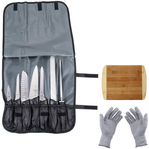 Mercer Culinary Millennia 8-Piece Knife Roll Set w/Protective Gloves & Cutting Board