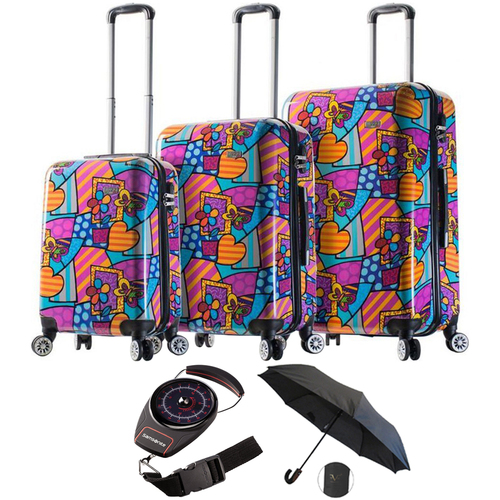Mia Viaggi Italy Butterfly/Love/Flower Hardside Spinner 3PC set + Luggage Scale Bundle