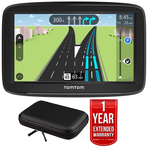 TomTom VIA 1625M 6` Touchscreen GPS Navigation Lifetime Maps w/Case + Extended Warranty