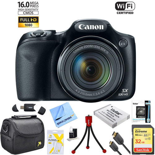 Canon PowerShot SX530 HS 16MP 50x Opt Zoom 1080p Full HD Digital Camera Bundle (Black)