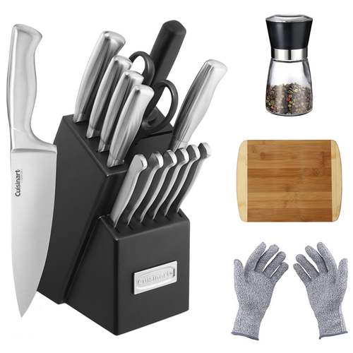 Cuisinart Stainless Steel Hollow Handle 15-Piece Cutlery Knife Block Set w/ Chef's Bundle