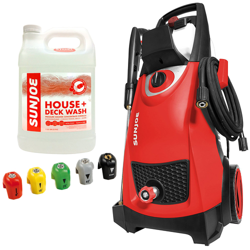 Sun Joe SPX3000 2030 PSI Electric Pressure Washer (RED) + House Cleaner Bundle