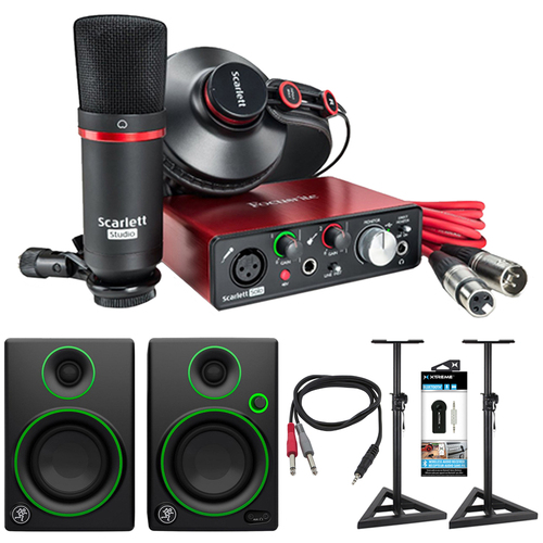Focusrite Scarlett Solo USB Audio Interface and Recording Kit + Speaker Bundle
