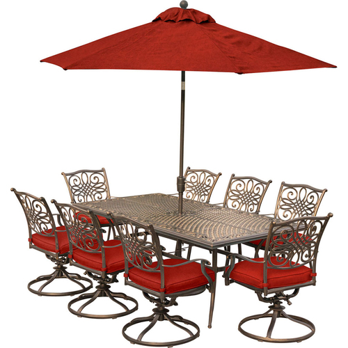 Hanover Traditions 9-Piece Dining Set With 8 Swivel Dinning Chairs - TRADDN9PCSW8-SU-R
