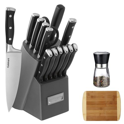 Cuisinart Triple Rivet Collection 15pc. Knife Block Set w/ Spice Mill & Cutting Board