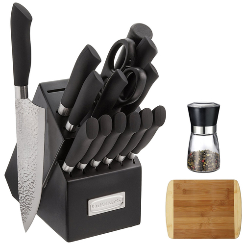 Cuisinart Artisan 15Pc Stainless Steel Knife Block Set w/ Spice Mill & Cutting Board
