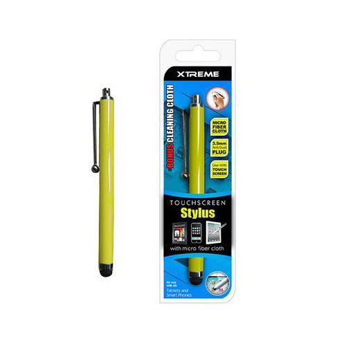Basic Touch Screen Stylus w/ Micro Fiber Cloth Yellow