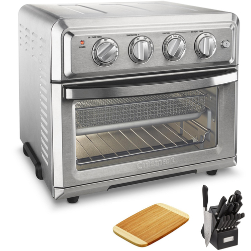 Cuisinart TOA-60 Air Fryer Toaster Oven With Light + Knife Set and Bamboo Cutting Board