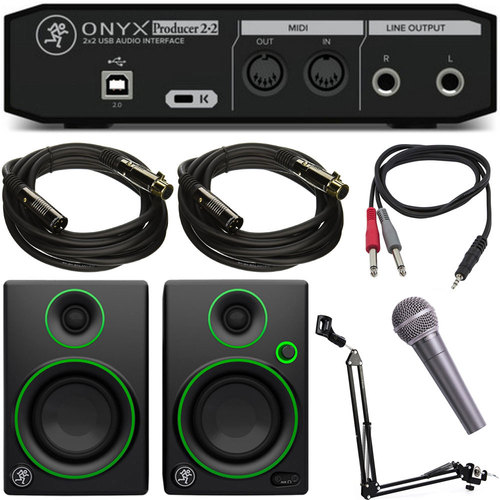 Mackie Onyx Producer 2-2 2x2 USB MIDI Audio Interface w/ Behringer XM8500 Mic Bundle