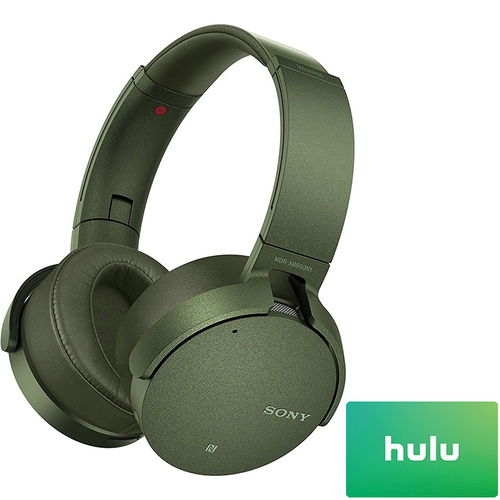 Sony Noise Canceling Extra Bass B.tooth Headphones Green + $25 Hulu Gift Card