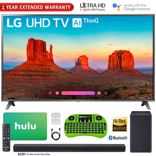 LG 75` Class 4K HDR Smart LED AI UHD TV w/ ThinQ + Sound Bar & Hulu Bundle