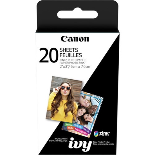 Canon 2 x 3` Zink Photo Paper Pack (20 Sheets) for Ivy Mobile Photo Printer 3204C001