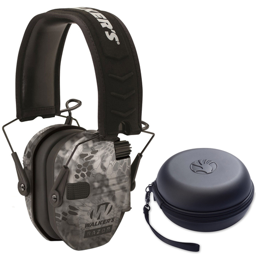 Walkers Razor Series Ear Muffs Hearing Protection Kryptek Camo + Headphone Case