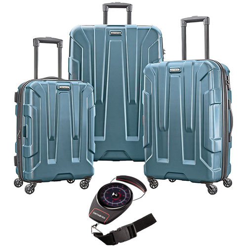 Samsonite Centric 3pc Hardside (20/24/28) Luggage Set, Teal with Luggage Scale