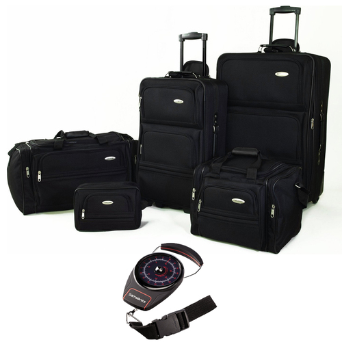 Samsonite 5 Piece Nested Luggage Set Black with Portable Luggage Scale