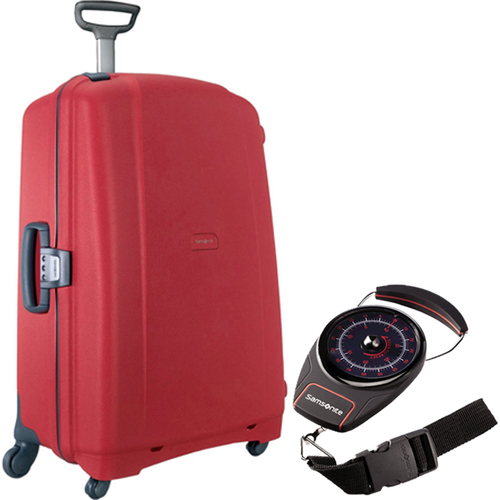 Samsonite F'Lite GT 31` Spinner Zipperless Suitcase Red with Luggage Scale