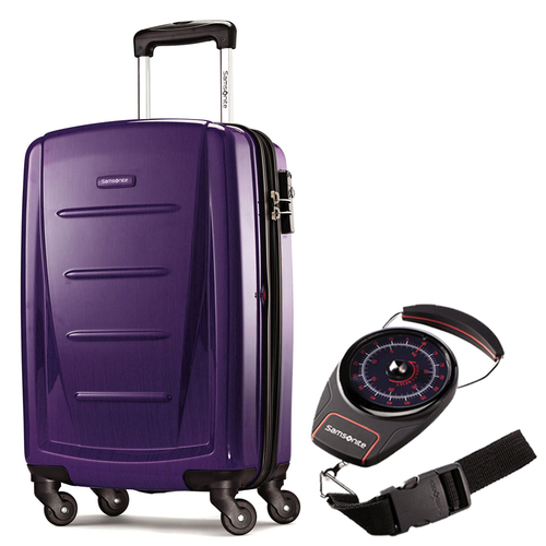 Samsonite Winfield 2 Fashion HS Spinner 20` Purple with Portable Luggage Scale