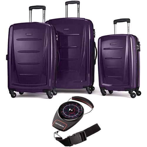 Samsonite Winfield 2 Fashion Hardside 3 Piece Spinner Set Purple + Luggage Scale