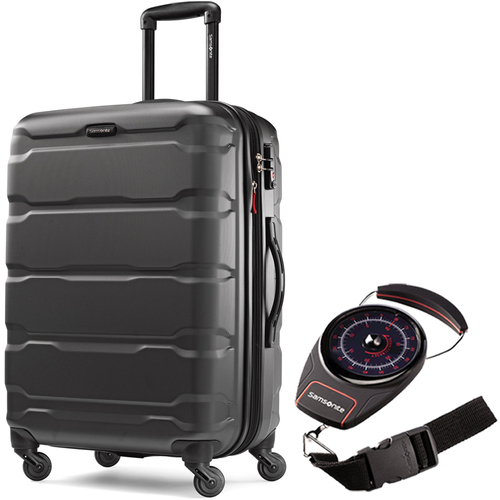 Samsonite Omni Hardside Luggage 24` Spinner Black with Portable Luggage Scale