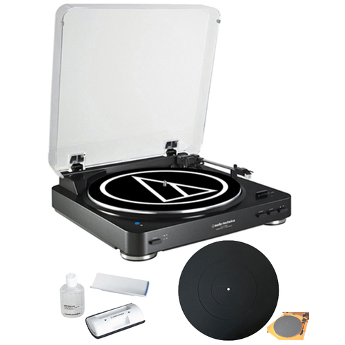 Audio-Technica Wireless Belt-Drive Stereo Turntable w/ Record Vinyl Cleaner Kit, Black