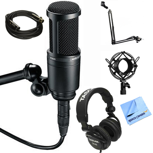 Audio-Technica Side Address Cardioid Condenser Studio Mic + Headphones Bundle