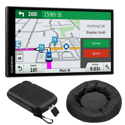 Garmin DriveSmart 61 NA LMT-S GPS Smart Features Refurbished with Dash Mounting Bundle