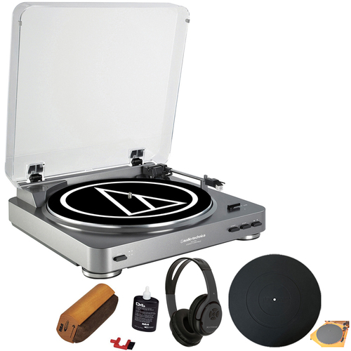 Audio-Technica AT-LP60 Turntable + Bluetooth Transmitter Wireless Headphones Bundle