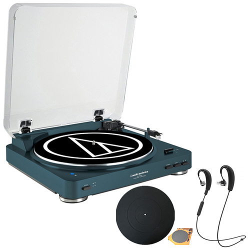 Audio-Technica Fully Automatic Stereo Turntable Navy with Bluetooth Headphones