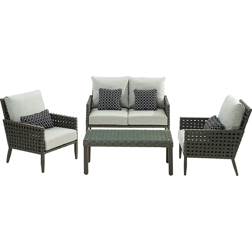 Hanover Loveseat 2 Side Chairs Woven/Glass Coffee Table - ARC-4PC-SLV