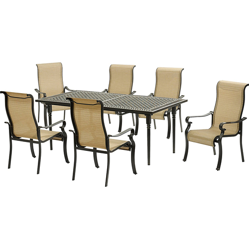 Hanover 6 Sling Dining Chairs Expandable Cast Dining Table - BRIGDN7PC-EX