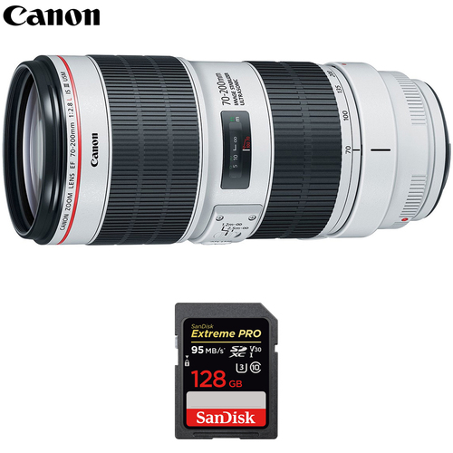 Canon EF 70-200mm f/2.8L IS III USM Telephoto Lens w/ Sandisk 128GB Memory Card