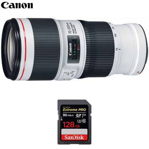 Canon EF 70-200mm f/4.0 L IS II USM Telephoto Zoom Lens w/ 128GB Memory Card