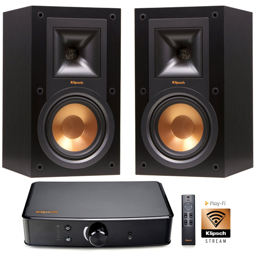 Klipsch Reference R-15M 2-Way Bookshelf Speakers (Pair) + Klipsch PowerGate Amplified PlayFi Wireless Gateway