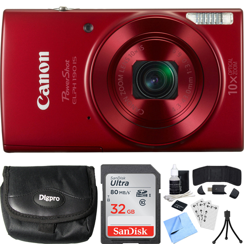 Canon PowerShot ELPH 190 IS Red Digital Camera + 10x Optical Zoom 32GB Card Bundle