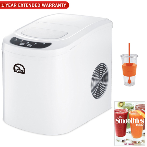 Igloo Countertop Ice Maker w/ 26lb Per 24 Hours Capacity, White + Warranty Bundle