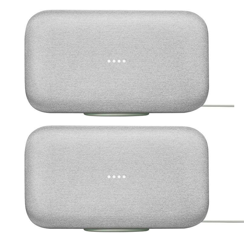 2-Pack, Google Home Max Smart Speaker with Google Assistant, Chalk