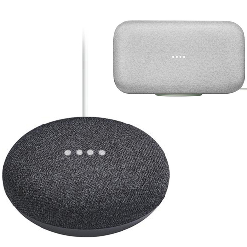 Google Home Mini Charcoal with Google Home Max Chalk