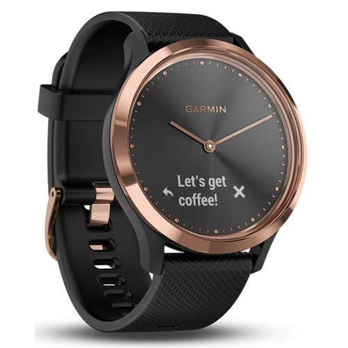 vivomove HR Sport Smartwatch (Rose Gold with Black Silicone Band)(Small/Medium)