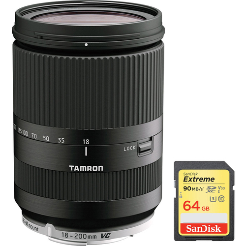 Tamron 18-200mm Di III VC for Canon Mirrorless Lens Black + 64GB Memory Card