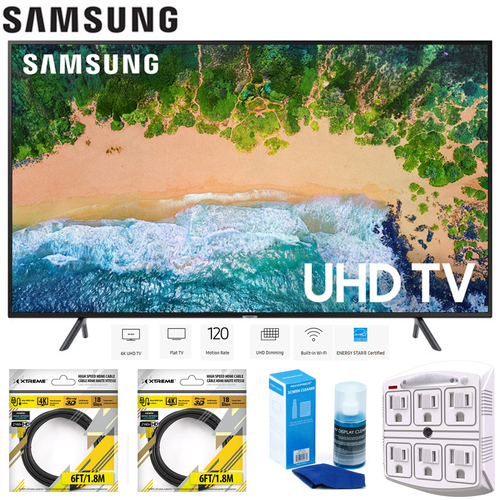Samsung 58` NU7100 UHD 4K HDR LED Smart TV 2018 Model + Cleaning Bundle