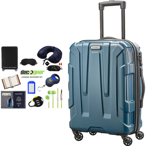 Samsonite Centric Hardside 20` Carry-On Luggage Teal + Luggage Accessory Kit