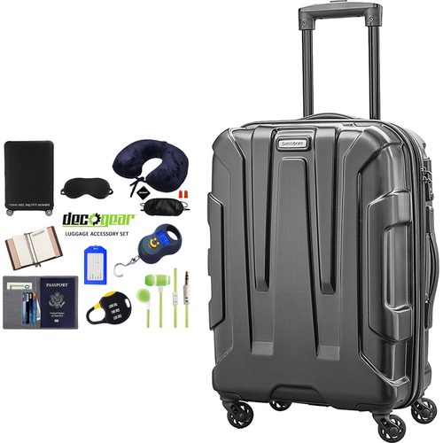 Samsonite Centric Hardside 24` Luggage, Black + 10 Pcs Luggage Accessory Kit